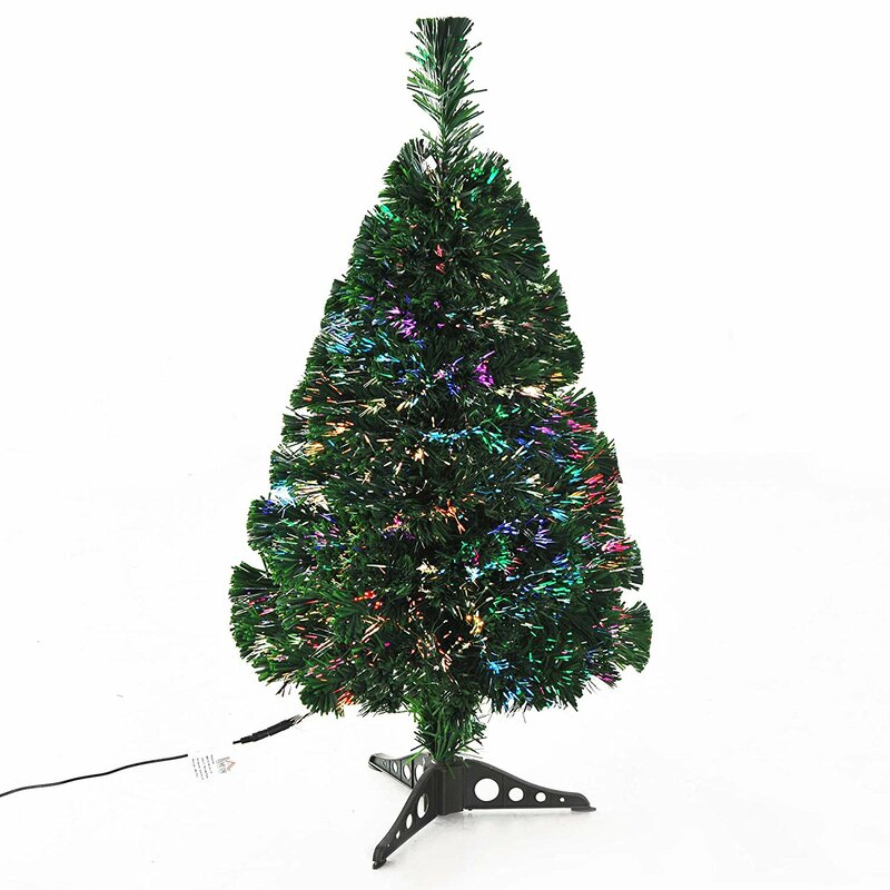 Xmas Pre Lit 3ft Green Pine Artificial Christmas Tree With Multi Coloured Lights And Stand