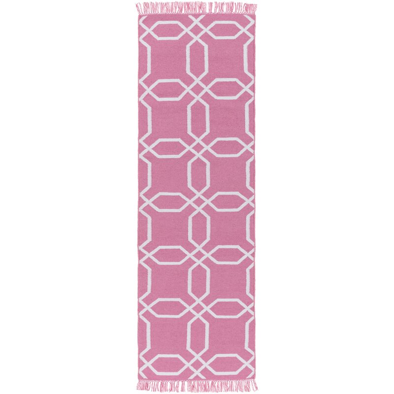 Charlton Home Larksville Geometric Handwoven Pink Indoor Outdoor Area Rug Wayfair