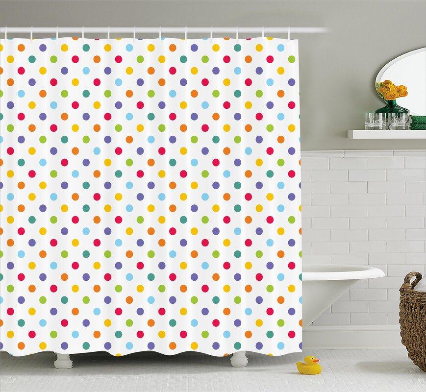 Bradford Colorful Polka Dots Shower Curtain