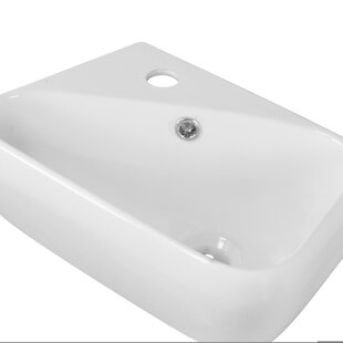 Ceramic 18 Wall Mount Bathroom Sink with Faucet and Overflow ByAmerican Imaginations