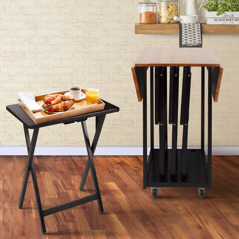 Axton Drop Leaf Table with TV Tray Table Set & Red Barrel Studio Axton Drop Leaf Table with TV Tray Table Set ...