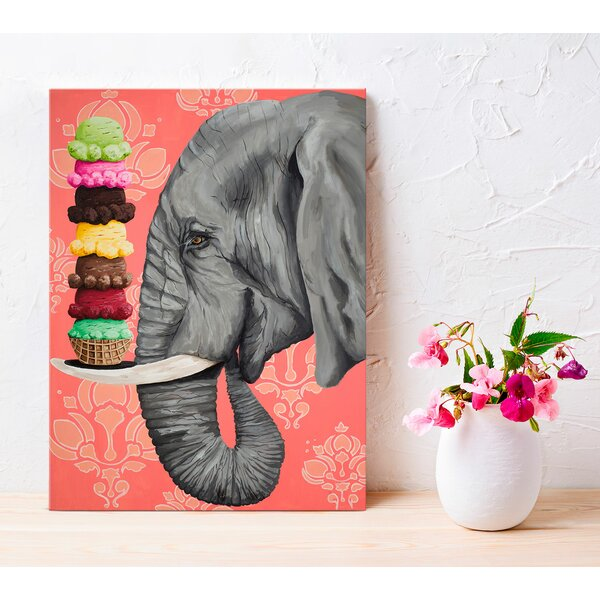 'Ice Cream Ele' Print on Canvas - Boho Chic Wall Decor