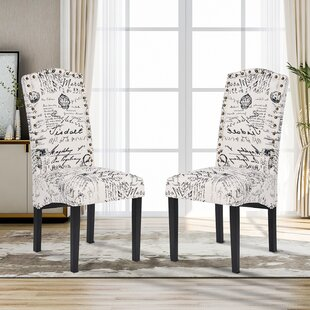 Jeter Linen Upholstered Dining Chair in Beige Set of 2 by Ophelia amp Co