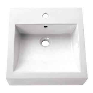 Avanity Ceramic Square Vessel Bathroom Sink with Overflow