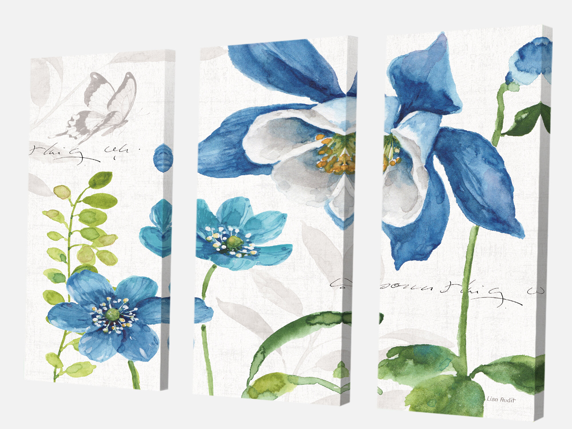East Urban Home Cabin Lodge Blue Columbine Flowers With