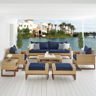 Addison 8 Piece Sunbrella Sofa Seating Group with Cushions