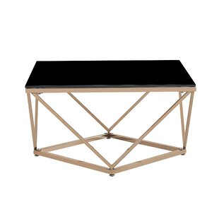 Mote Modern Glam Tempered Glass and Stainless Steel Coffee Table with Tray Top