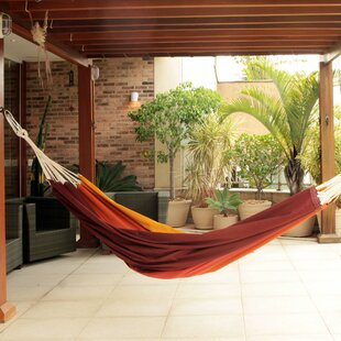 Double Person Fair Trade Sturdy Autumn Colored Hand-Woven Brazilian Cotton Indoor And Outdoor Hammock