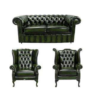 Wyaconda Chesterfield 3 Piece Leather Sofa Set By Rosalind Wheeler