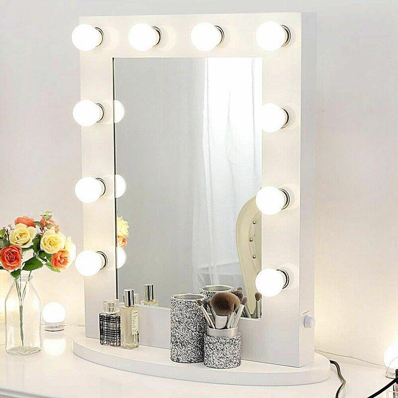 Latitude Run Aygün Modern & Contemporary Lighted Makeup Mirror