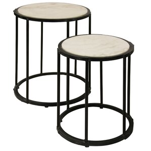 Meribah Marble Top 2 Piece Nesting Tables by Ivy Bronx