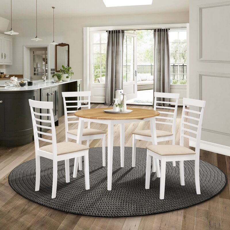 Kitchen Furniture Space Saving Excellent Quality Solid Wooden Extendable Dining Table Color Light Oak Assembly Required Dining Tables
