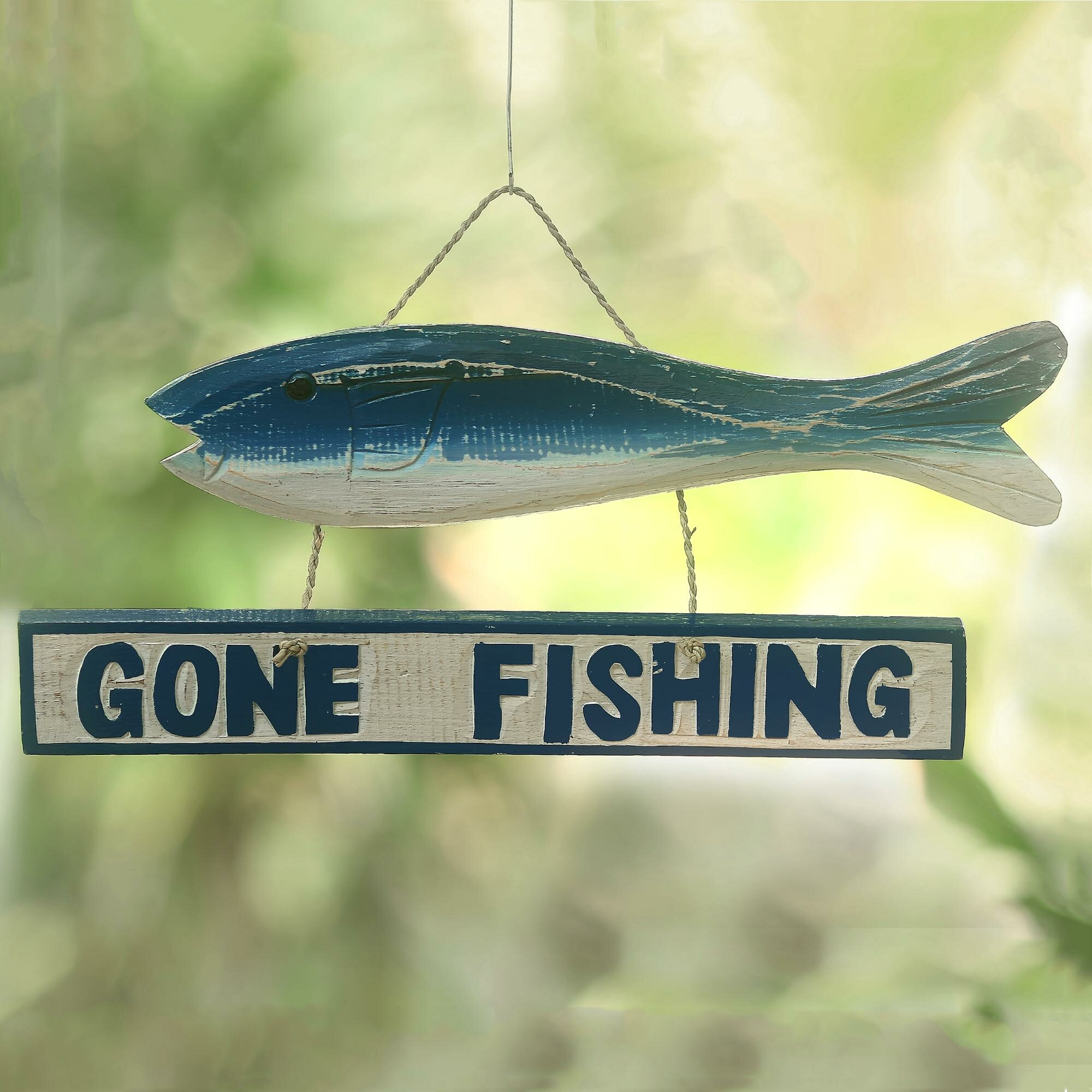 Novica Gone Fishing Wood Sign Wall Décor | Wayfair