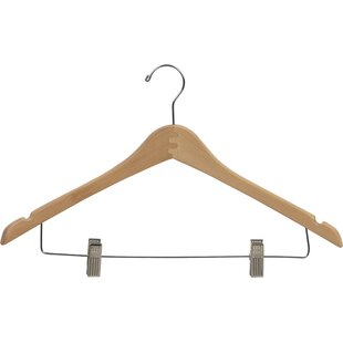 Compare Curved Wooden Combo Hanger with Adjustable Cushion Clips (Set of 50) By Rebrilliant