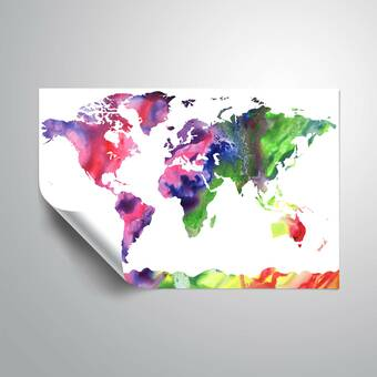Wrought Studio Gillham Blue Green Watercolorr World Map Removable Wall Decal Wayfair