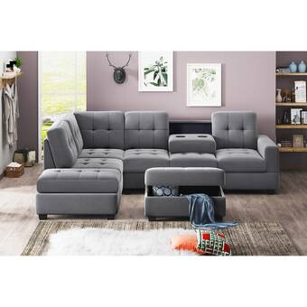 Latitude Run Daivon 104 92 Right Hand Facing Sofa And Chaise With Ottoman Wayfair