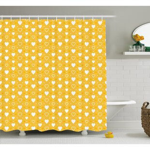 Full and Empty Heart Shapes with Little Dots and Tiny Cute Hearts Pattern Shower Curtain Set