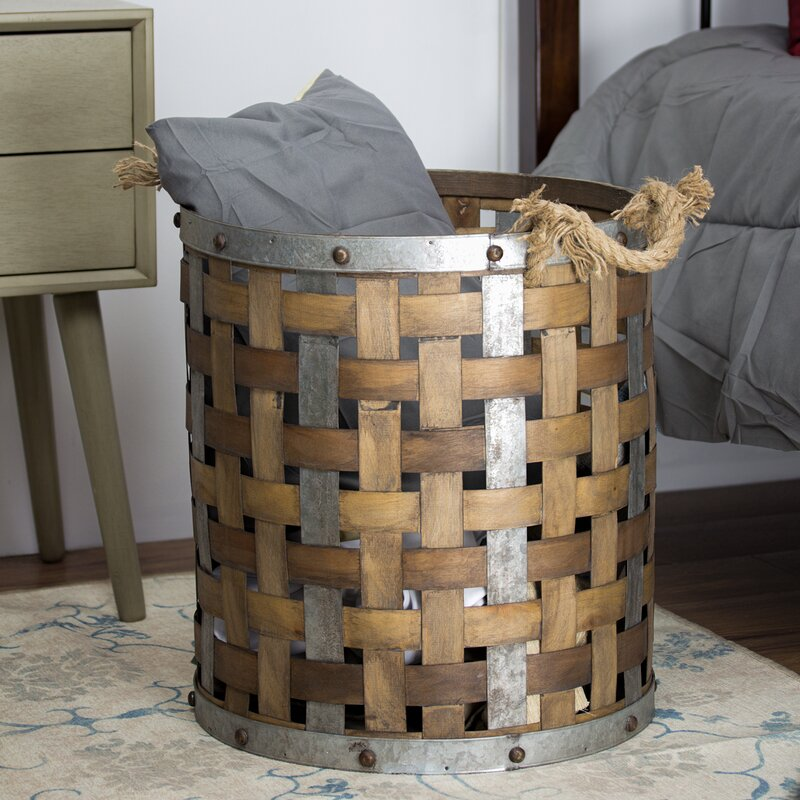 Bon Rustic Bamboo And Metal Storage Basket