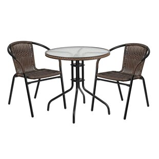 Gingerich Round Glass Metal 3 Piece Bistro Set