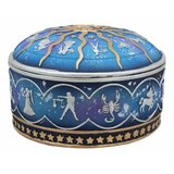 """Bloomsbury Market Ancient Greek Astrological Horoscopes Zodiac Constellations With Sun And Moon Lid Decorative Trinket Box Figurine 4"""" Diameter In Royal Dreamy Blue And Gold Finish Jewellery Stash Container"""