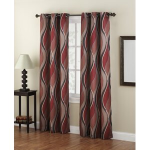 Intersect Geometric Semi-Sheer Grommet Single Curtain Panel