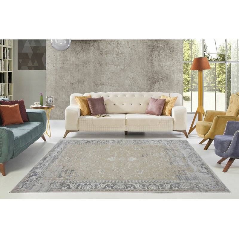 Dipasquale Camel Gray Champagne Area Rug