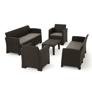 Bartz 5 Piece Rattan Sofa Seating Group with Cushions