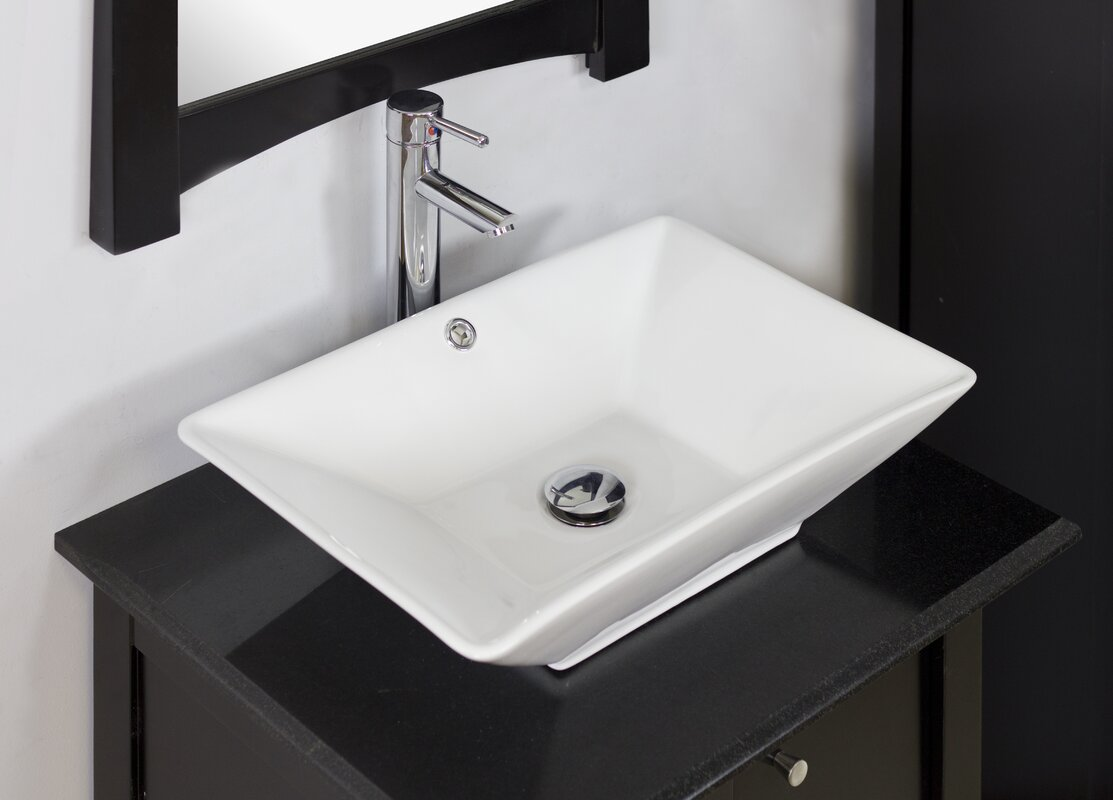 Bathroom sink rectangular - Above Counter Rectangular Vessel Bathroom Sink With Overflow