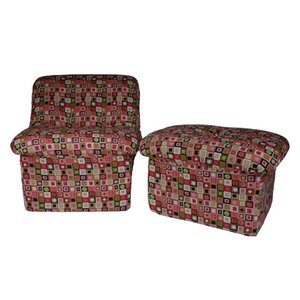 Cloud Candyland Plaid Teen Novelty Chair and Ottoman by Fun Furnishings