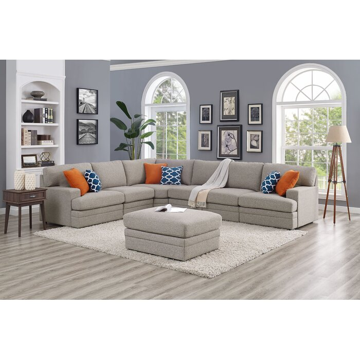 Episkopi 5 Seater Large Right Hand Facing Sectional Sofa With Ottoman