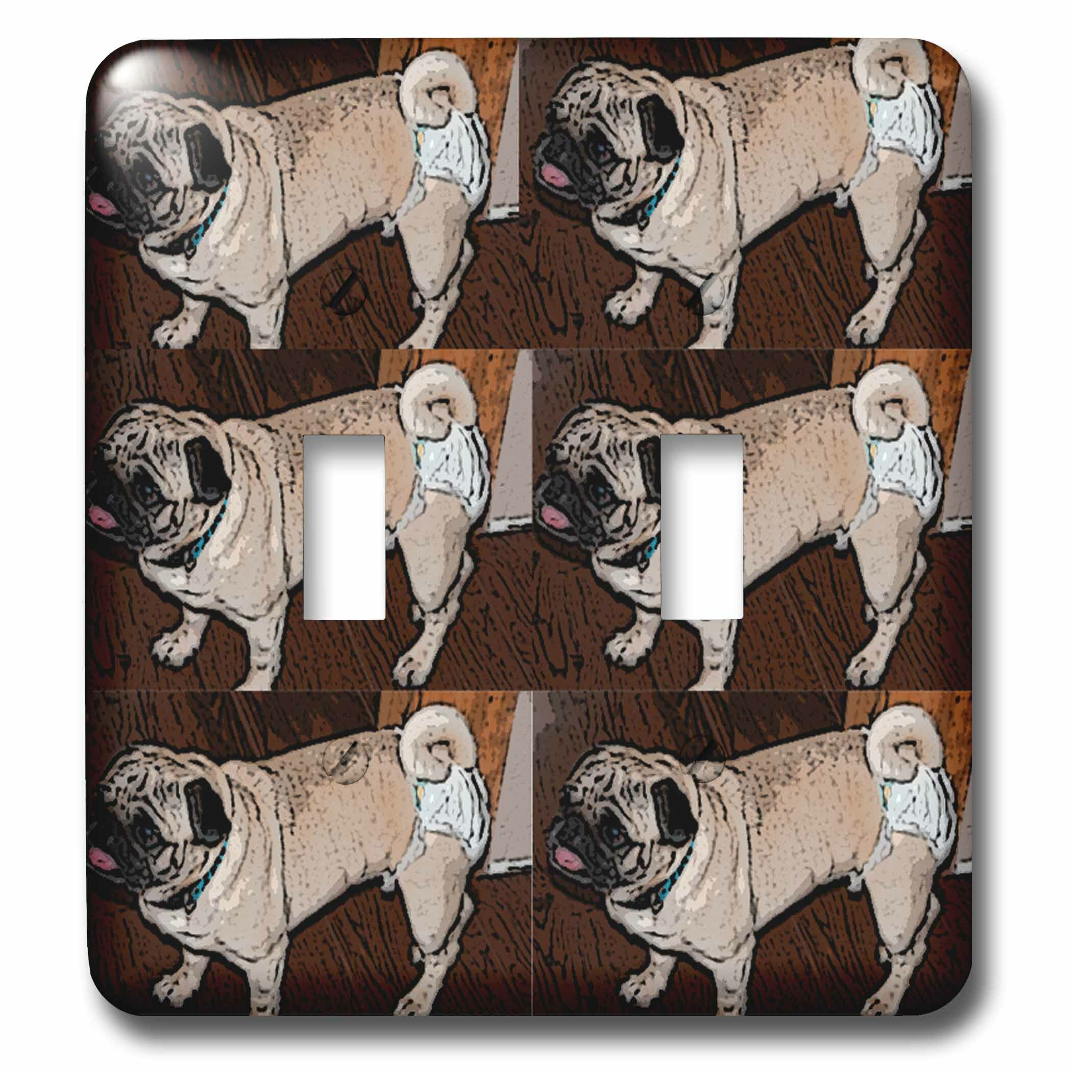 3drose Pet Pug Walking Around In Diapers So Cute It Makes You Laugh Six Times 2 Gang Toggle Light Switch Wall Plate Wayfair