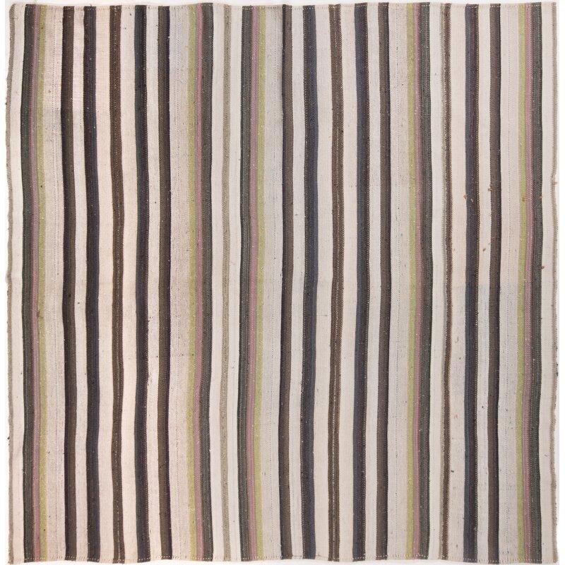 Bloomsbury Market Arshleen Striped Hand Knotted Wool Brown Gray Beige Area Rug Wayfair