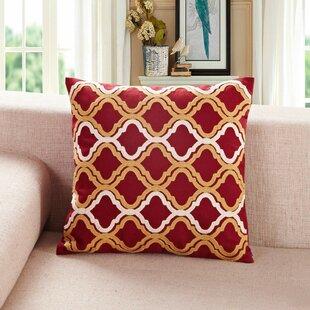 Embroidered Quatrefoil Throw Pillow