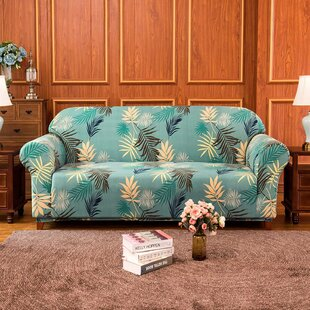 Rocco Leaves Printed Stretch Loveseat Slipcover By Bayou Breeze