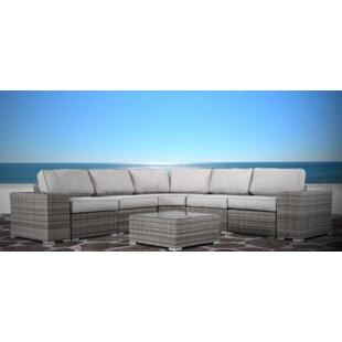 Rosecliff Heights Hoyle 8 Piece Rattan Sectional Set with Cushions