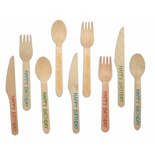 Birchwood Happy Birthday Print 180 Piece Flatware Set