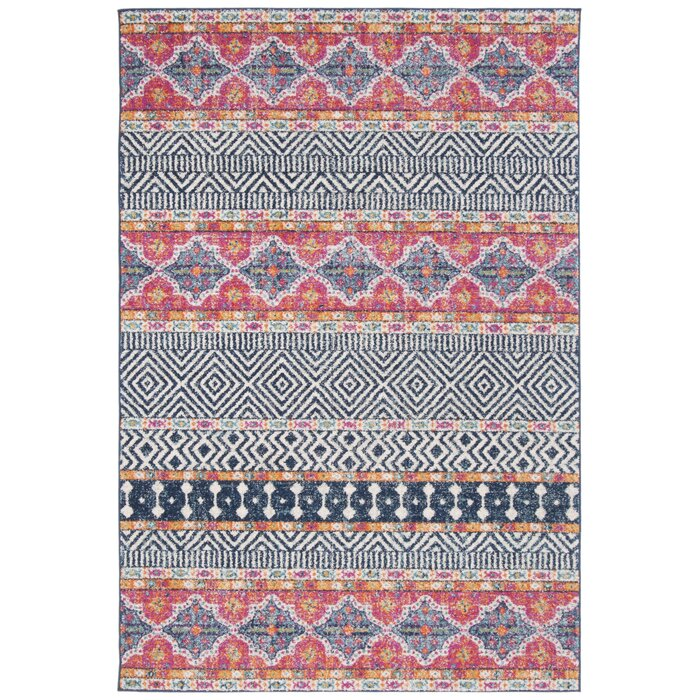 Gutierez Geometric Red/Pink/White/Navy Blue Area Rug