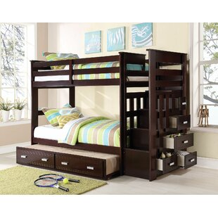 Eades Kids Twin Over Twin Bunk Bed with Trundle and Drawers