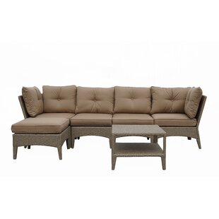 Koontz 6 Piece Rattan Sectional Seating Group with Cushion