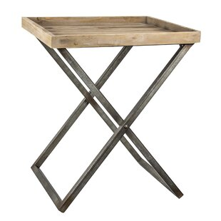 Delicia Decor Wood and Metal Folding Card Tray Table