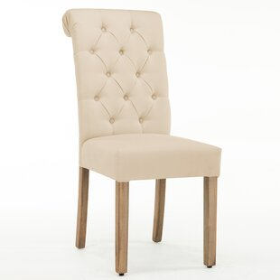 Ansonia Roll Top Tufted Modern Upholstered Dining Chair (Set of 2) By Ophelia & Co.