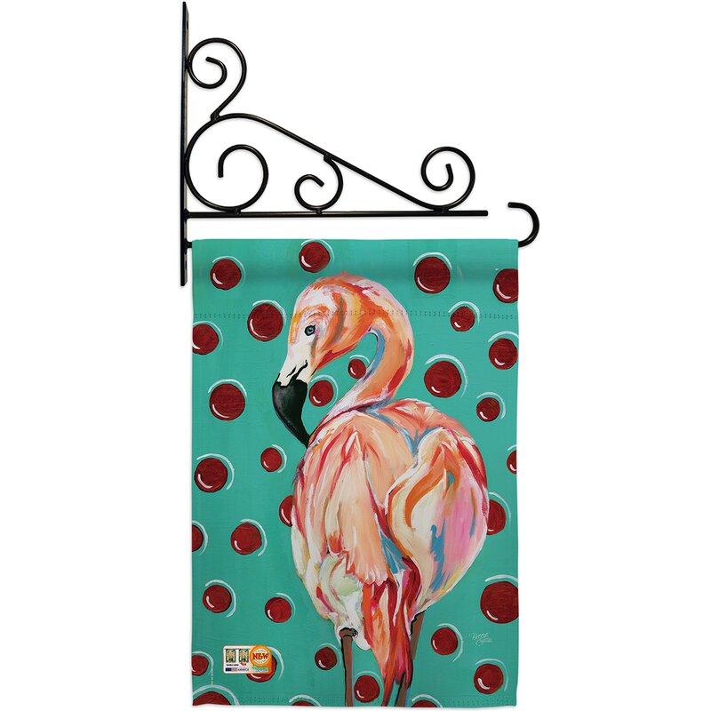 Breeze Decor Polka Dot Flamingo 2 Sided Polyester 19 X 13 In Flag Set Wayfair