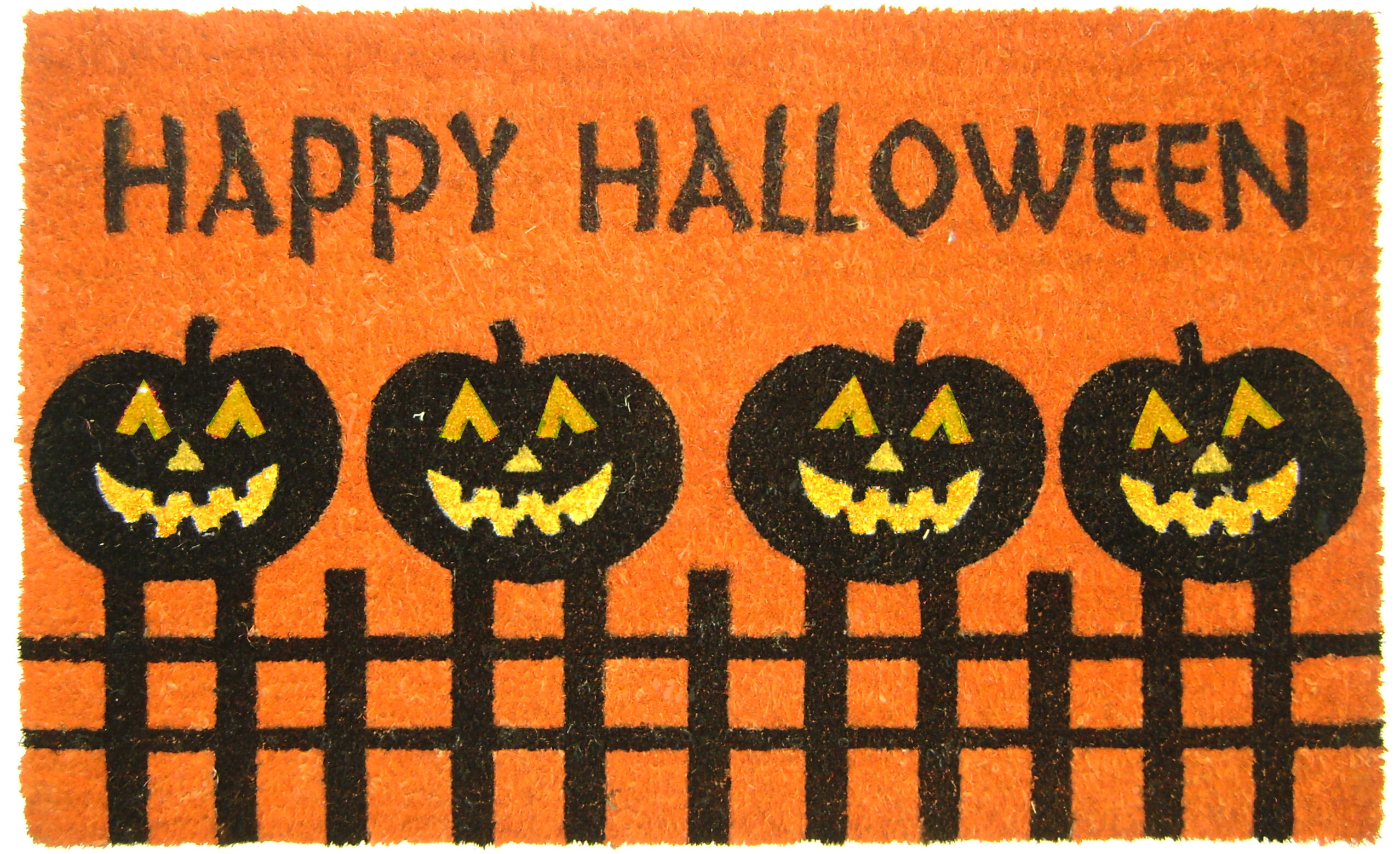 geo crafts halloween pumpkin fence doormat & reviews | wayfair