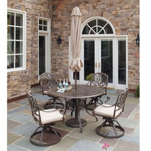 Kaler 5 Piece Dining Set with Umbrella