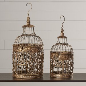 Ettie 2 Piece Decorative Metal Bird Cage Set