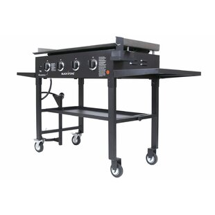 Blackstone 36 Cooking Station 4 Burner Flat Top Propane Gas Grill Griddle With Side Shelves