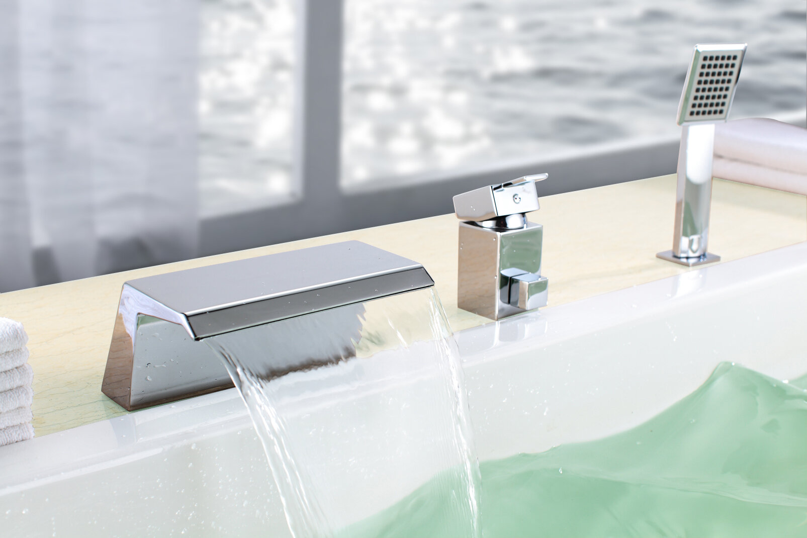Picture of: Sumerain Contemporary Modern Single Handle Deck Mounted Roman Tub Faucet With Diverter And Handshower Reviews Wayfair