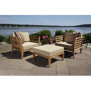 Bali 3 Piece Teak Club Chair and Ottoman with Cushion Set