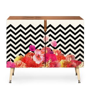 Chevron Floral 2 Door Accent Cabinet