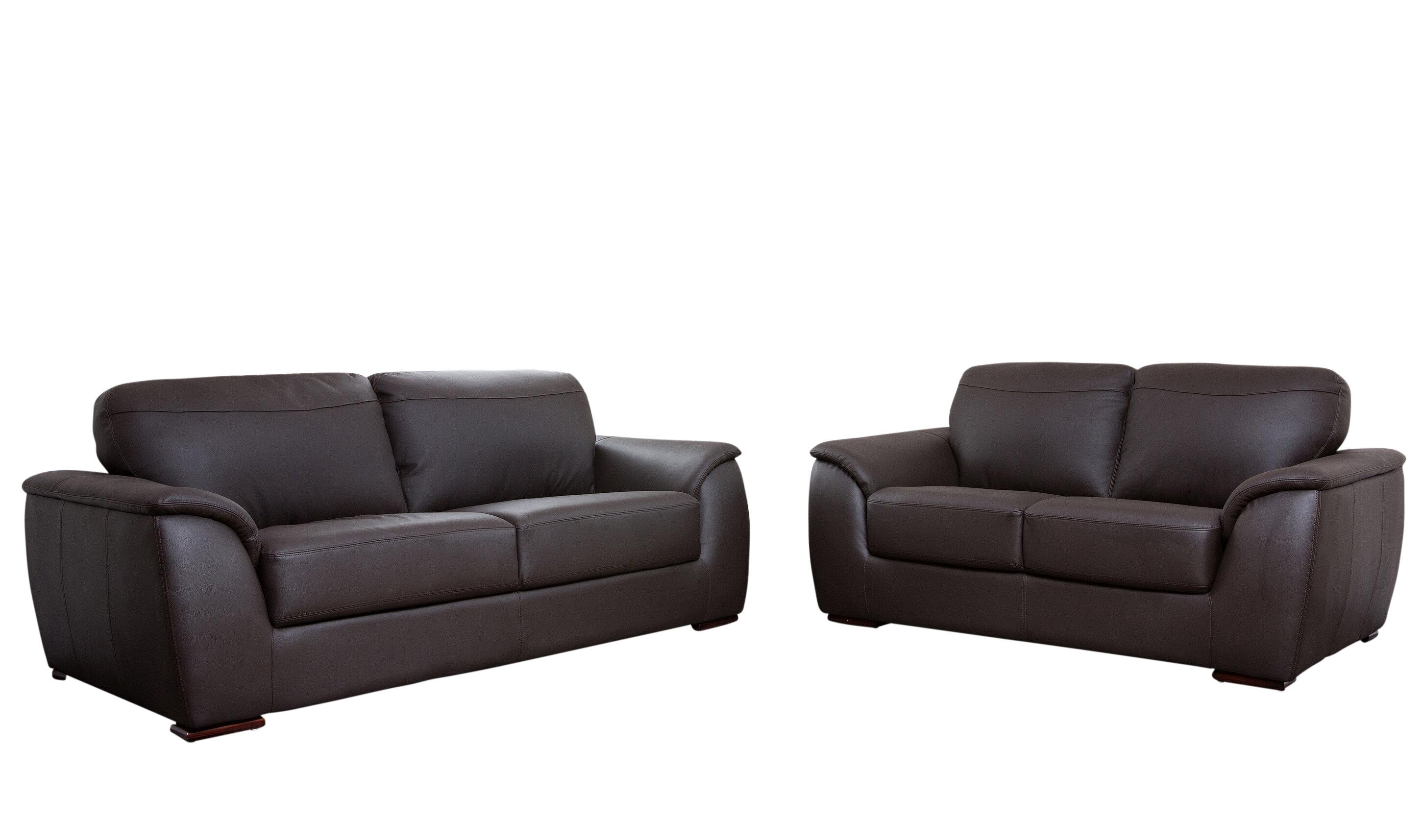 Brayden Studio Voyles 2 Piece Leather Living Room Set | Wayfair